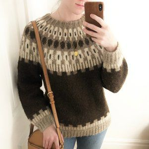 Vintage Fair Isle Pure Virgin Wool Knit Sweater